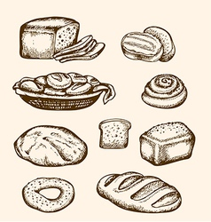 Set of vintage hand drawn bakery vector image vector image