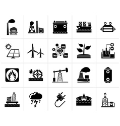 Black Electricity and Energy source icons vector image