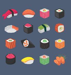 cartoon sushi rolls japanese cuisine seafood vector image vector image