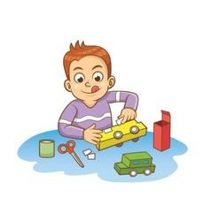 children made a toy car with cardboard vector image vector image