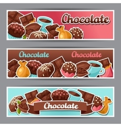 Chocolate horizontal banners with various tasty vector image vector image