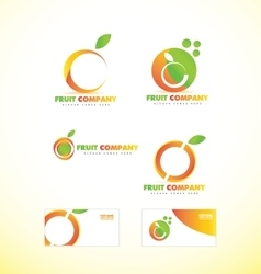 Fruit company orange logo icon vector image vector image