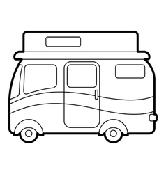 Traveling camper van icon outline style vector image vector image