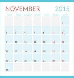Calendar 2015 flat design template November Week vector image vector image
