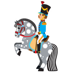 Cartoon soldier riding a grey horse vector