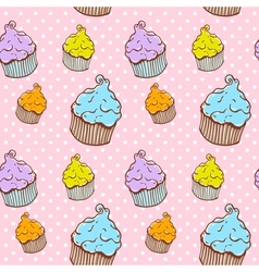 Cute vintage cupcake seamless texture vector image vector image