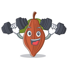 Fitness cacao bean character cartoon vector