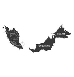 malaysia map labelled black vector image