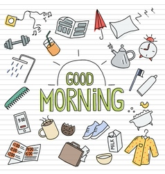 Morning sketchy objects vector image