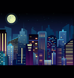 night urban city landscape vector image