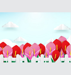 spring season concept wooden fence and flowers vector image vector image