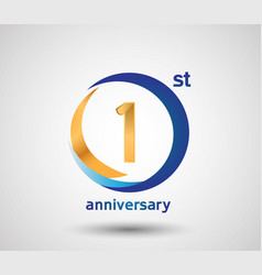 1 anniversary design with blue and golden circle vector