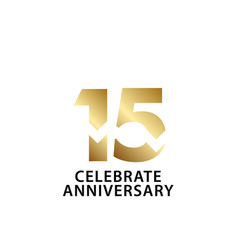 15 years anniversary celebrate gold template vector