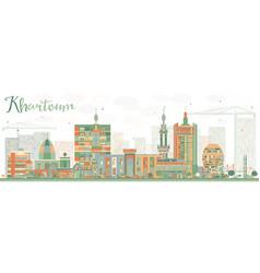 Abstract khartoum skyline with color buildings vector