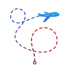 airplane logo on the color of the flight route vector image