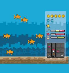 arcade game world and pixel scene design vector image
