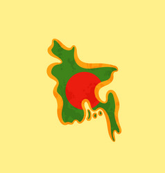 Bangladesh - map colored with bangladeshi flag vector
