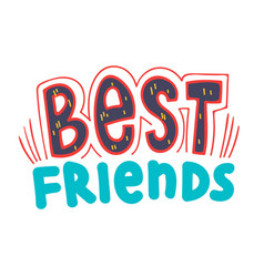 Best friends banner with typography bff concept vector