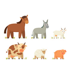 big farm animals set poster vector image