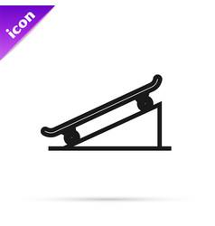 Black line skateboard on street ramp icon isolated vector