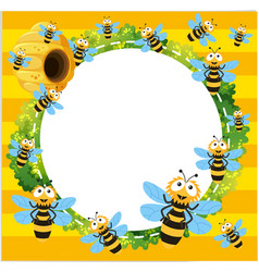 Border template with many bees flying vector