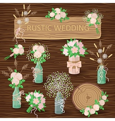 Bouquets on wood vector