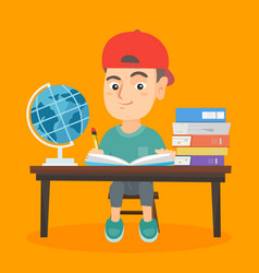 Boy sitting at the desk and writing in notebook vector