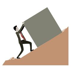 businessman pushing a block over rock landscape vector image
