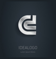 C and D initial silver logo Metallic 3d icon or vector image