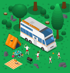 Camping isometric concept vector
