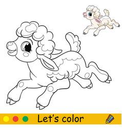 Cartoon character cute funny running lamb coloring vector