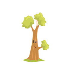 Cartoon green tree with surprised face expression vector