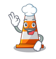Chef traffic cone on made in cartoon vector