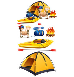 Children camping out with camping set vector