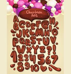 Chocolate boom font set vector