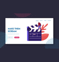 Cinematograph movie making process website vector