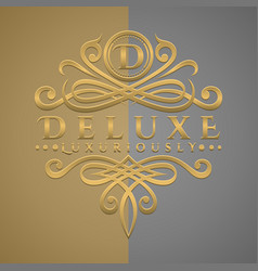 Classic luxurious letter d logo with embossed vector