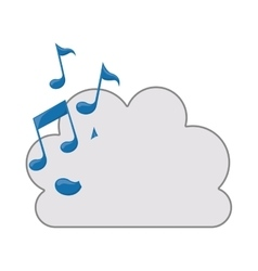 cloud with musical notes icon vector image