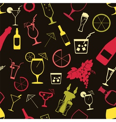 Cocktails alcohol drinks background Seamless vector
