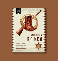 Cowboy poster design with sniper boots rope vector
