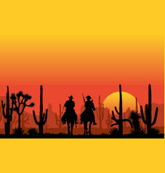 Cowboy riding a horse in a canyon at sunset vector