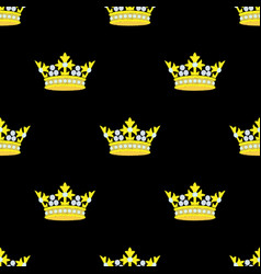crown embroidery seamless pattern vector image