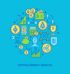 cryptocurrency round banner with place for text vector image