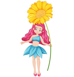 Cute fairy holding a yellow flower cartoon vector