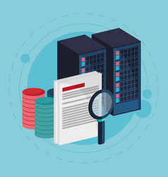 Data center process document search vector