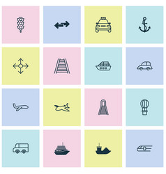 delivery icons set with train railway navigation vector image