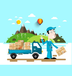 Delivery service man with van car natural flat vector