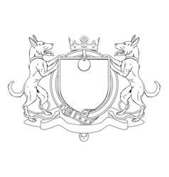 dog pets heraldic shield coat arms vector image