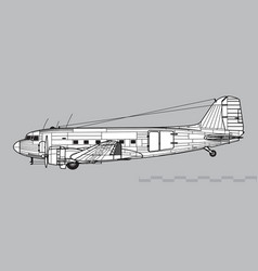 douglas c-47 skytrain vector image
