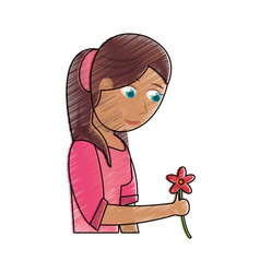 Drawing beautiful mother with flower celebration vector